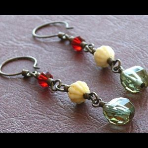 Vintage Glass Bead Earrings Artisan Hand Crafted